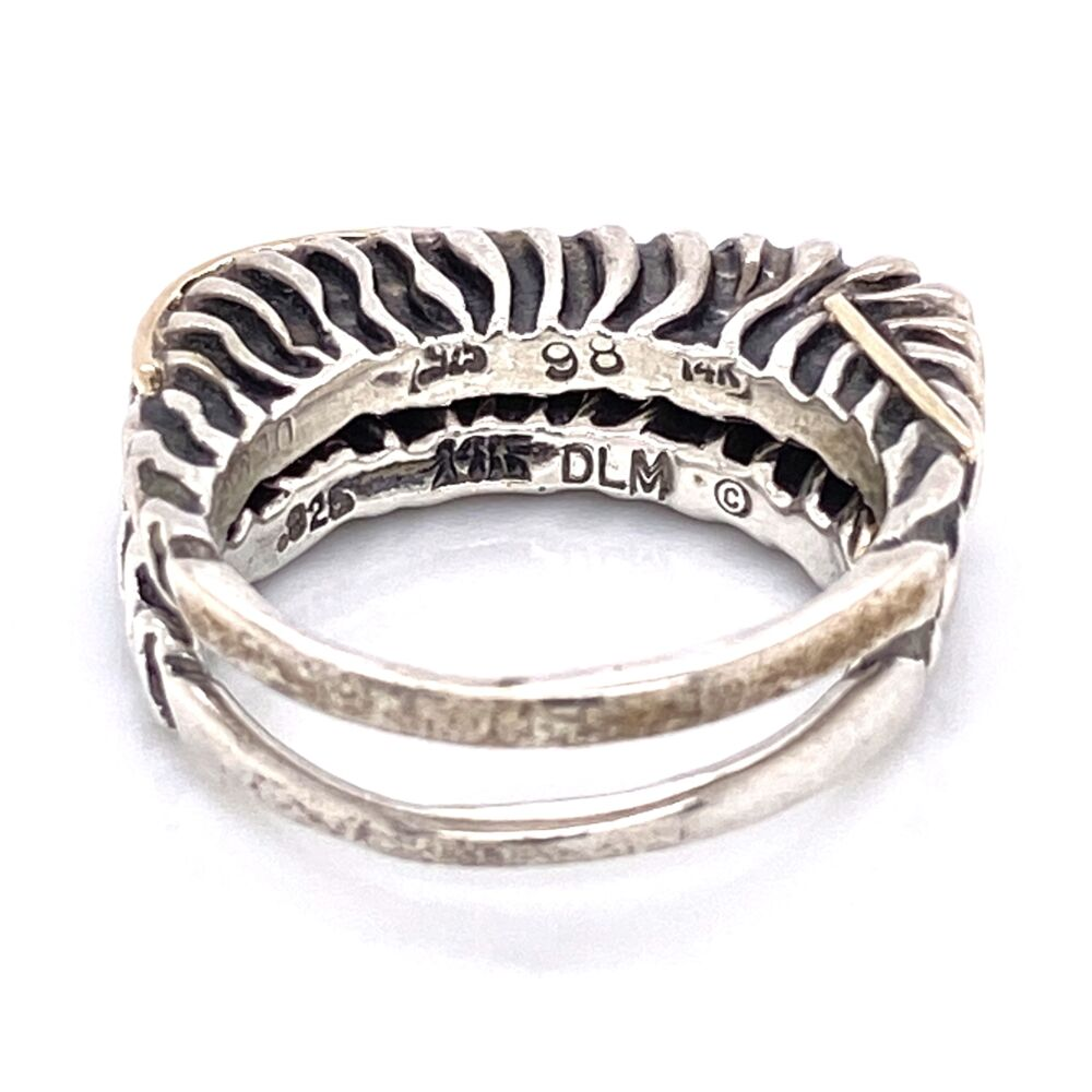 Image 2 for 925 / 14K Yellow Gold Diane Malouf Double Thin Band Gold Over 10.8g, s6.75