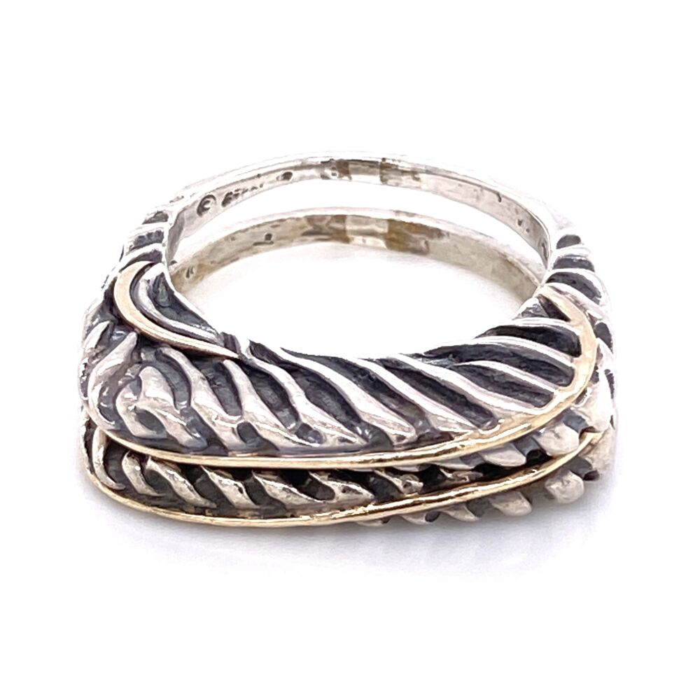 925 / 14K Yellow Gold Diane Malouf Double Thin Band Gold Over 10.8g, s6.75