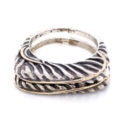 Closeup photo of 925 / 14K Yellow Gold Diane Malouf Double Thin Band Gold Over 10.8g, s6.75