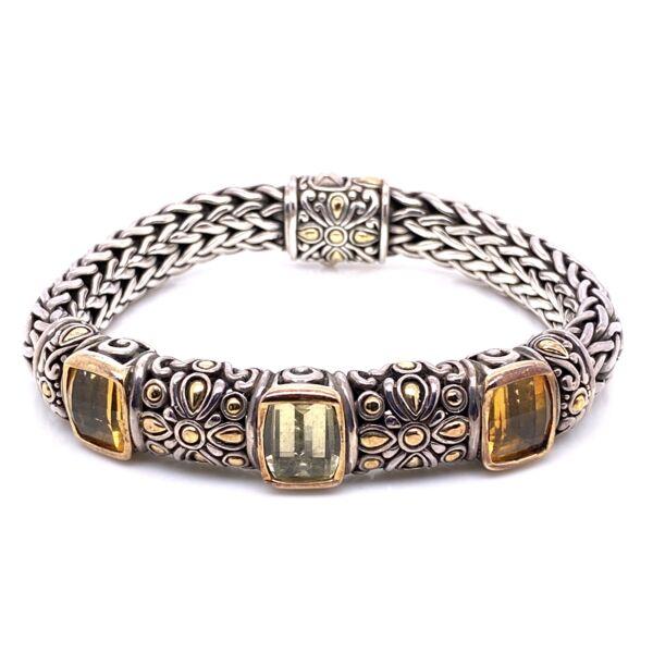 "Closeup photo of 925 / 18K Yellow Gold JOHN HARDY Citrine & Praisiolite Bracelet 68.0g, 7"""