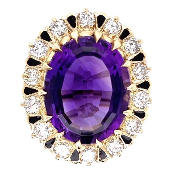 Closeup photo of 14K Yellow Gold 6ct Oval Amethyst & 1.00tcw Diamond Ring with Enamel 11.7g, s5.75