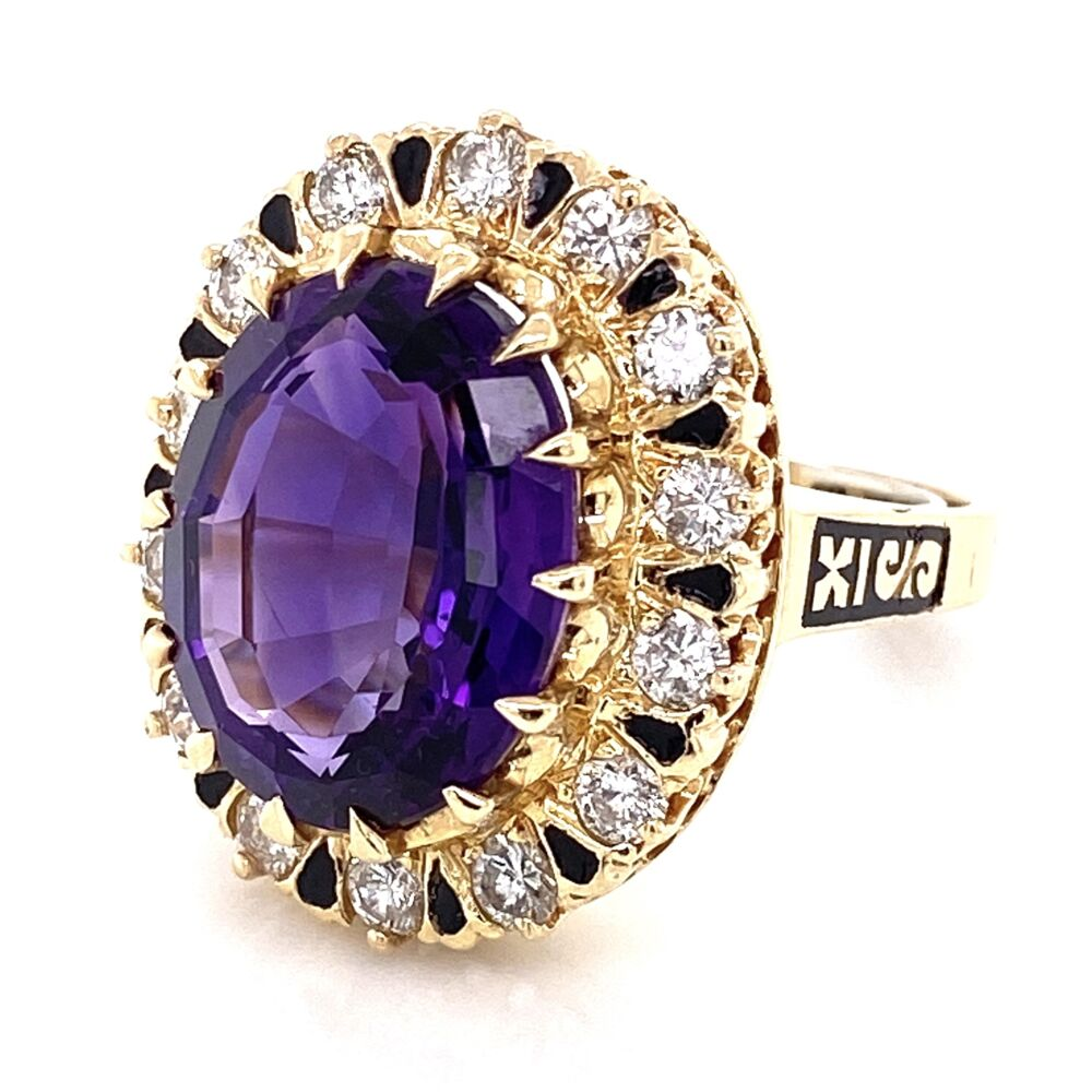 Image 2 for 14K Yellow Gold 6ct Oval Amethyst & 1.00tcw Diamond Ring with Enamel 11.7g, s5.75