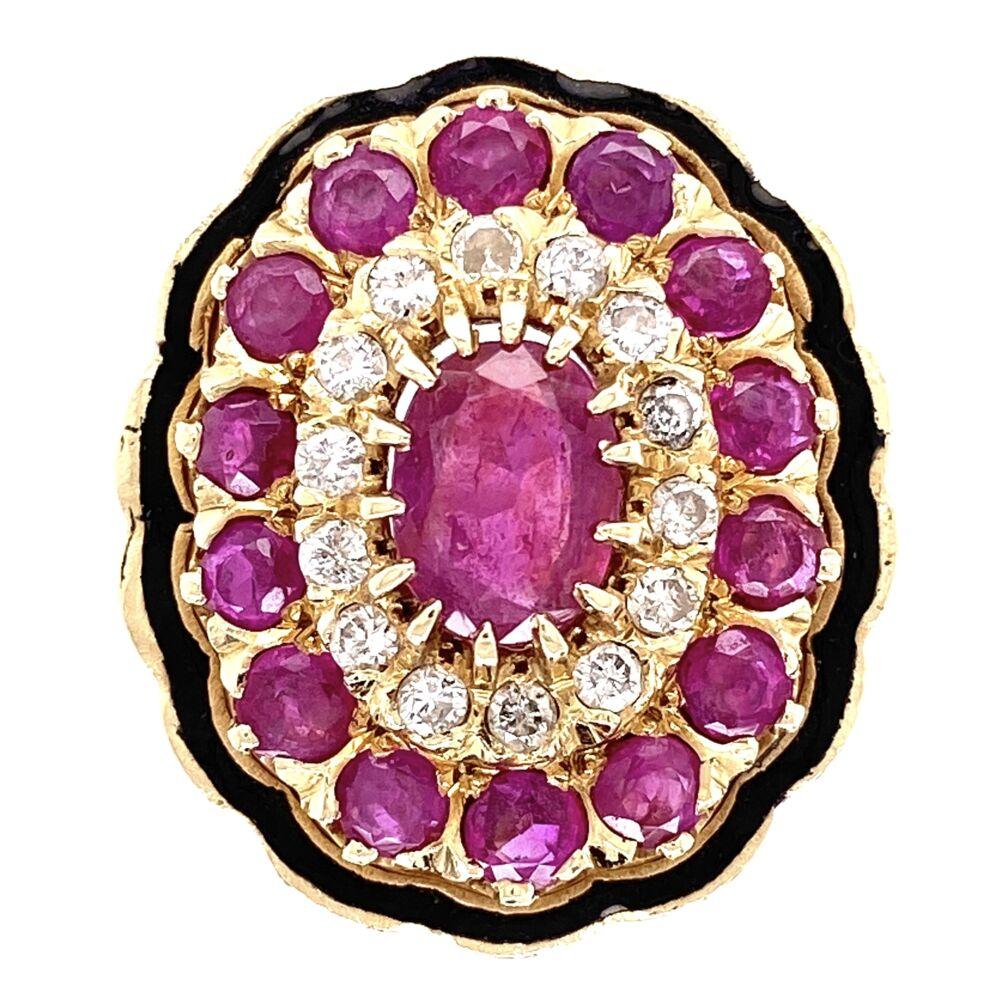 14K Yellow Gold 2.10tcw Ruby & .40tcw Diamond Enamel Ring 10.4g, s6