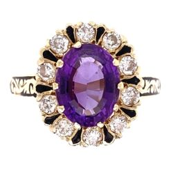 Closeup photo of Oval Amethyst, Diamond & Enamel Ring