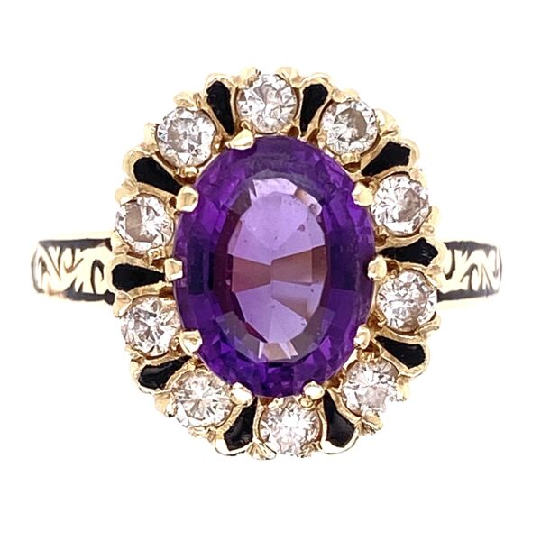 Closeup photo of 14K Yellow Gold 1.60ct Oval Amethyst, .50tcw Diamonds & Enamel Ring 5.9g, s