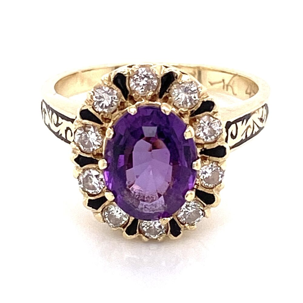 Image 2 for 14K Yellow Gold 1.60ct Oval Amethyst, .50tcw Diamonds & Enamel Ring 5.9g, s