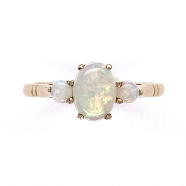 Closeup photo of 9K Yellow Gold Victorian 3 Opal Ring 1.8g, s6