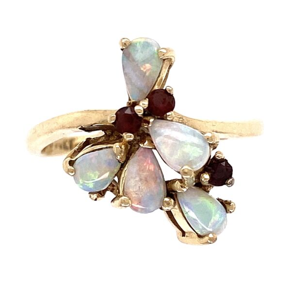 Closeup photo of 14K Yellow Gold Opal & Garnet Spray Ring 3.5g, s6.5