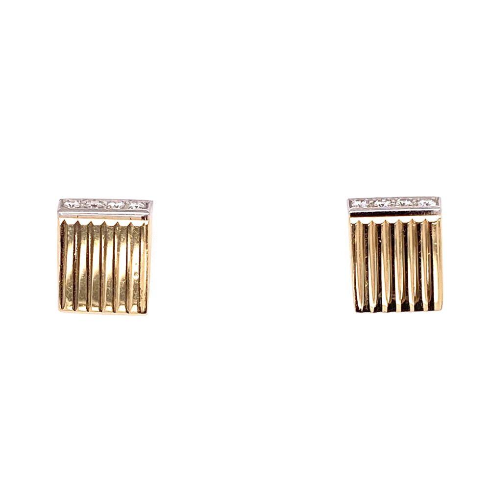 14K Yellow Gold / Platinum Retro Diamond Earrings .10tcw 3.4g
