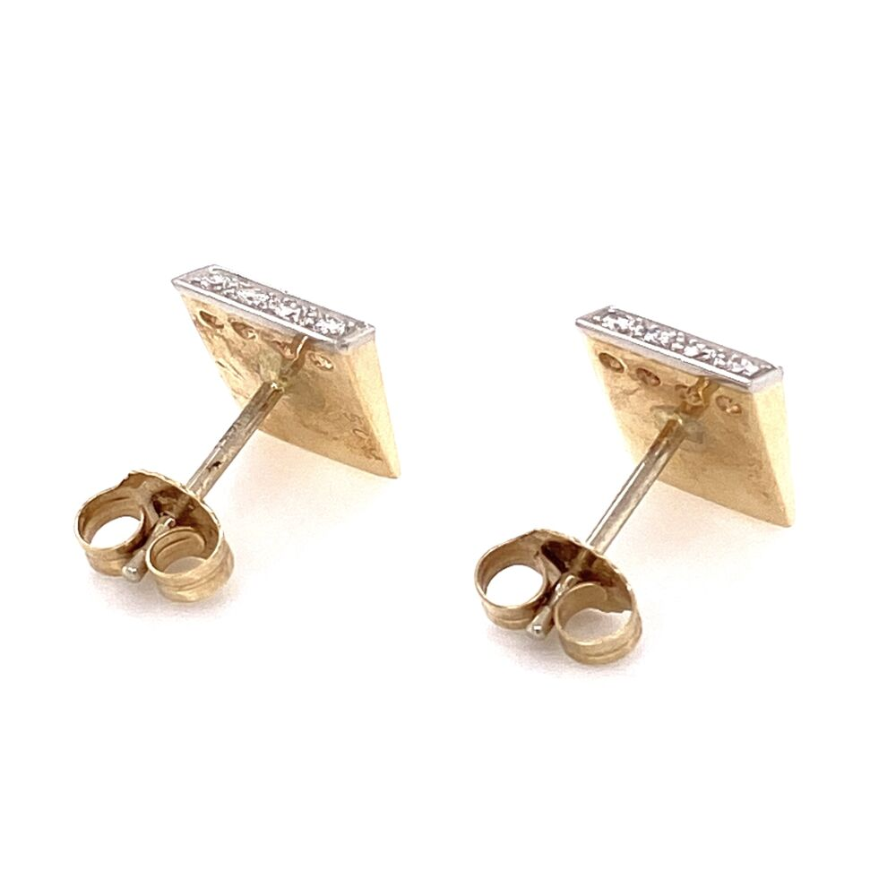Image 2 for 14K Yellow Gold / Platinum Retro Diamond Earrings .10tcw 3.4g