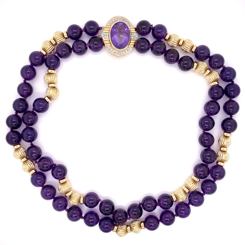 14K Yellow Gold 10mm Amethyst Bead Necklace with .25tcw Diamond Clasp 88.0g, 15'