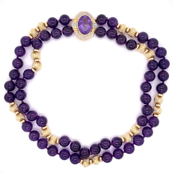Closeup photo of 14K Yellow Gold 10mm Amethyst Bead Necklace with .25tcw Diamond Clasp 88.0g, 15'