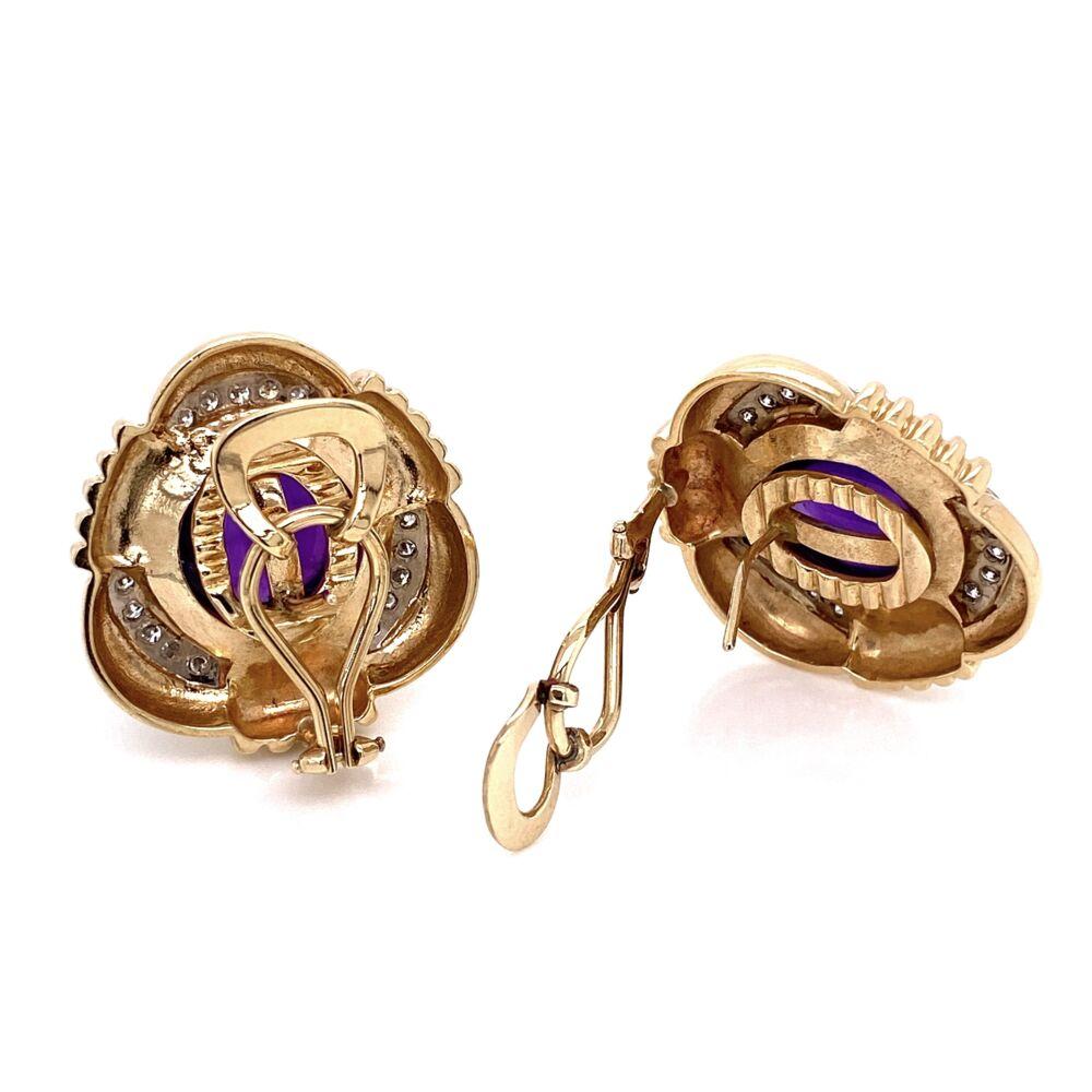 Image 2 for Cabochon Amethyst & Diamond Earrings