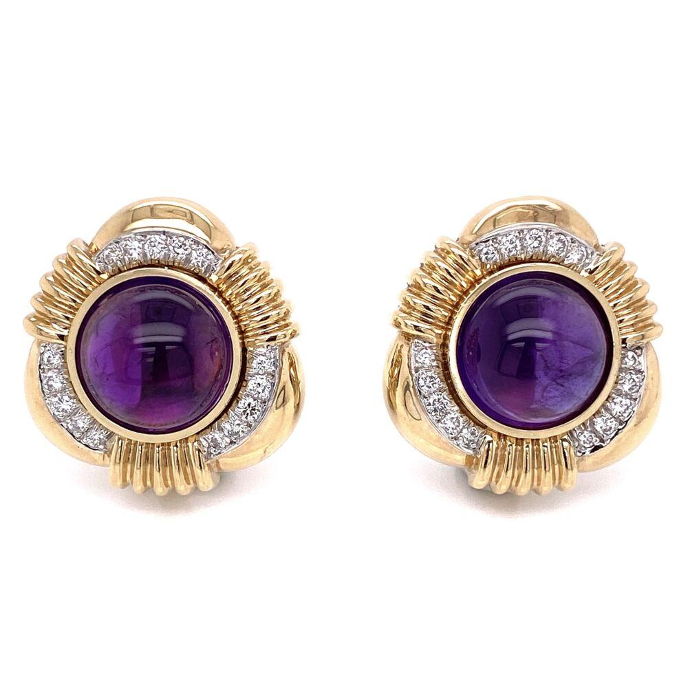 Cabochon Amethyst & Diamond Earrings