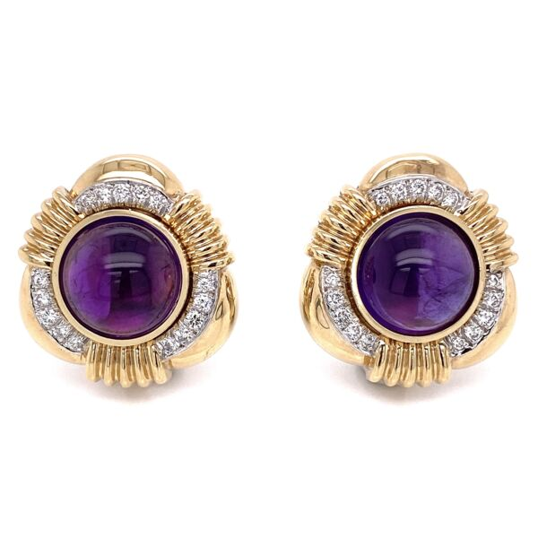 "Closeup photo of 14K Yellow Gold Cab Amethyst Earrings, 1.00tcw Diamonds 25.5g, 1"" Tall"