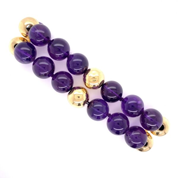 Closeup photo of 14K Yellow Gold Double Row 10mm Amethyst Bead Bracelet 42.4g, 7.5""