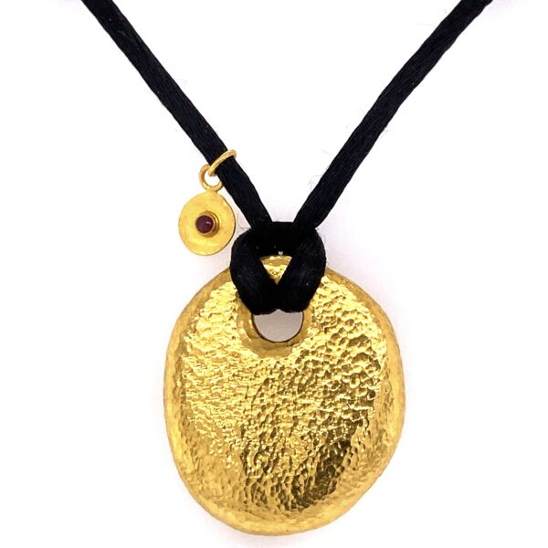 """Closeup photo of 24K Yellow Gold GURHAN Hammered Pebble Necklace on Black Silk 17.6g, 16"""""""