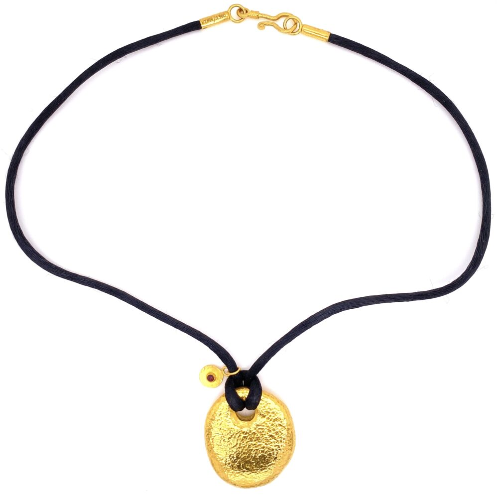 Image 2 for 24K Yellow Gold GURHAN Hammered Pebble Necklace on Black Silk 17.6g, 16""