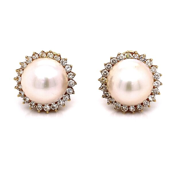Closeup photo of 18K Yellow Gold Mabe Pearl & 1.35tcw Diamond Earrings 14.2g