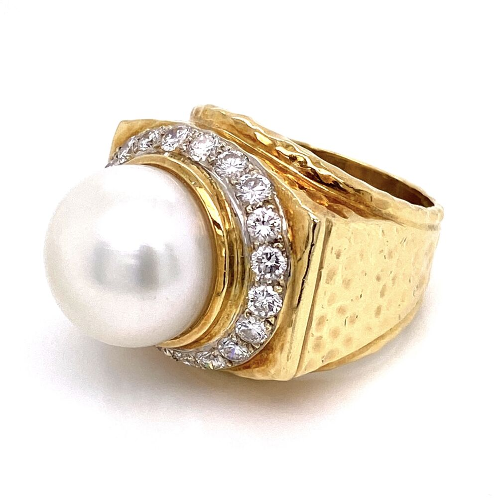 Image 2 for 18K Yellow Gold Hammered 14mm Pearl & 1.50tcw Diamond Ring 26.3g, s7