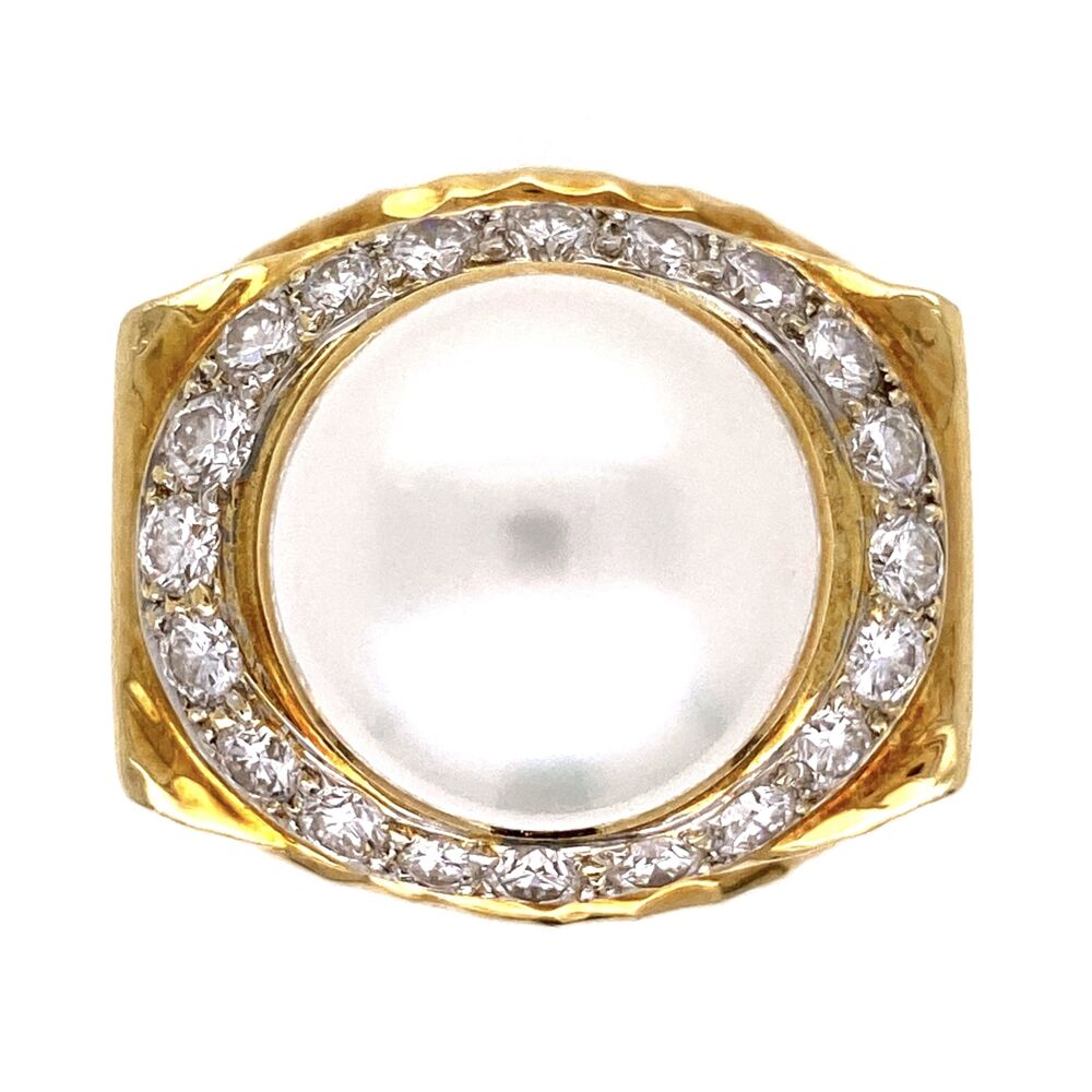 18K Yellow Gold Hammered 14mm Pearl & 1.50tcw Diamond Ring 26.3g, s7