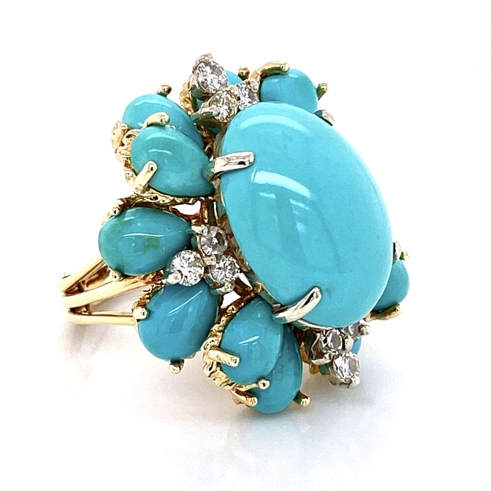 Image 9 for 18K Yellow Gold Bombay Persian Turquoise & .70tcw Diamond Ring 13.8g, s6.25