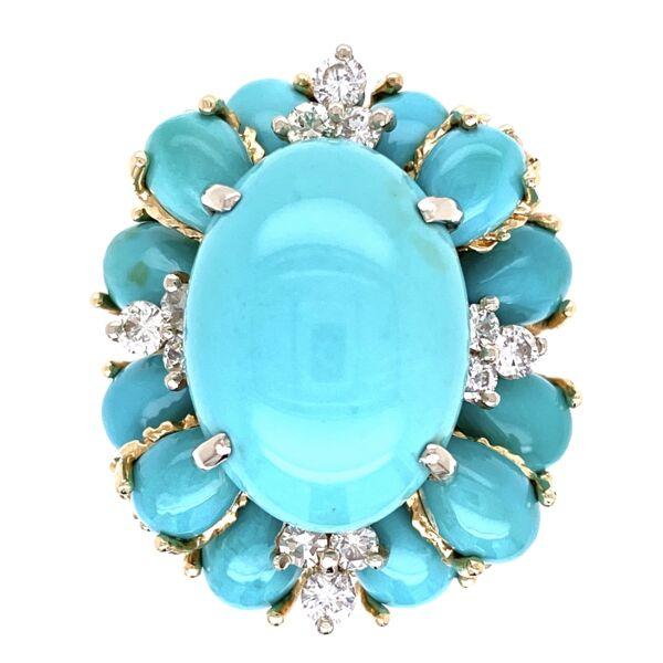 Closeup photo of 18K Yellow Gold Bombay Persian Turquoise & .70tcw Diamond Ring 13.8g, s6.25
