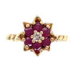 Closeup photo of 14K Yellow Gold Tulip Ring with .35tcw Ruby & .04ct Diamond 3.8g, s6