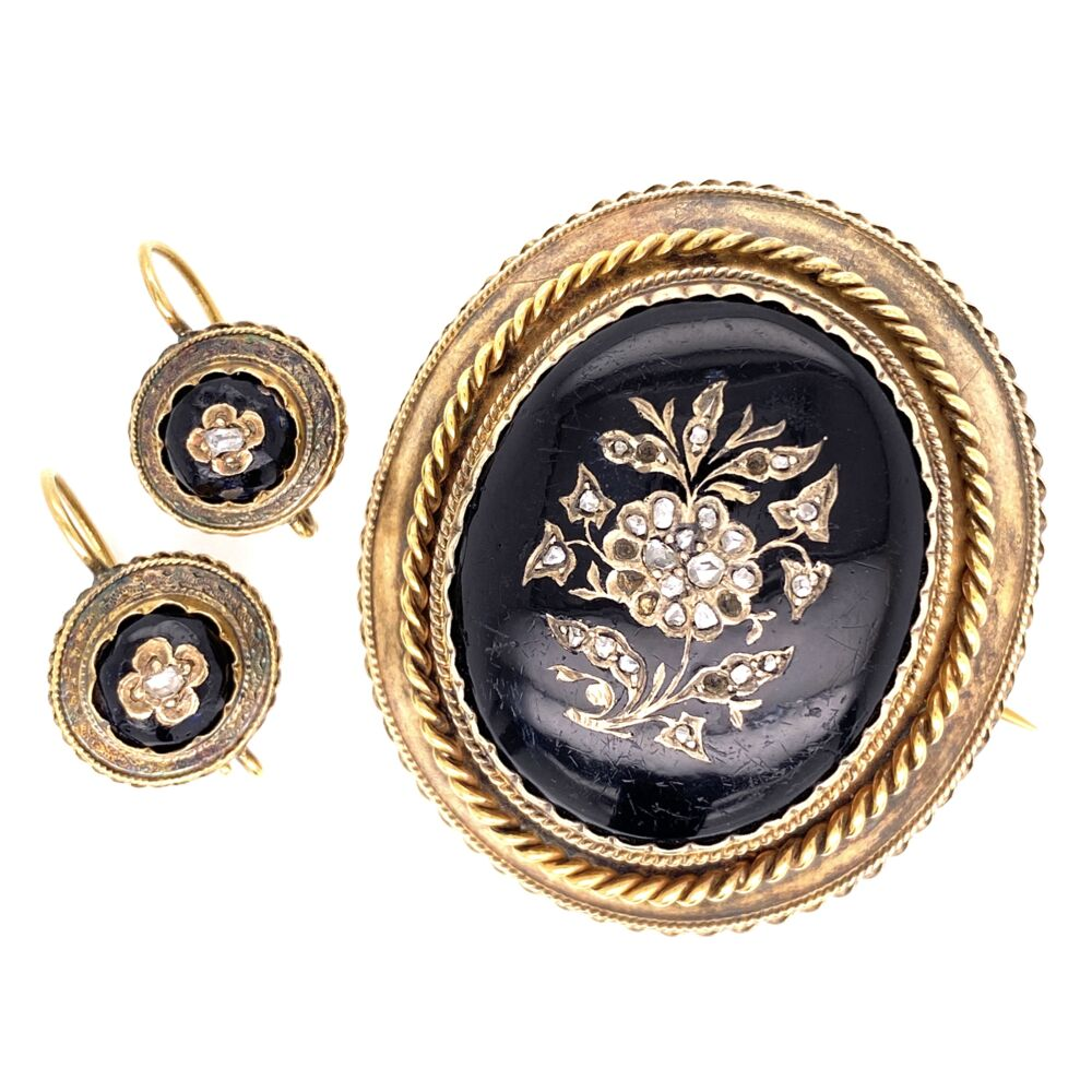 18K & Gold Filled Victorian Black Resin & Diamond Brooch & Earring Set 24.4g