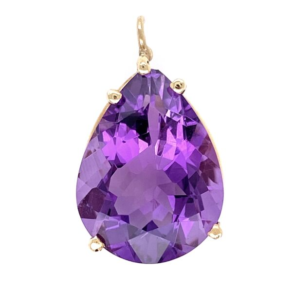 Closeup photo of 14K Yellow Gold 10ct Pear Shape Deep Purple Amethyst Pendant 4.95g