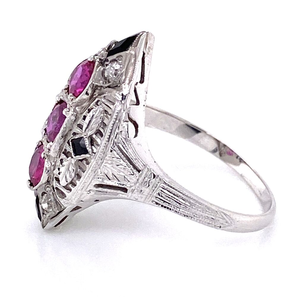 Image 2 for 18K White Gold Art Deco Navette Ring 3 Ruby are 1.11tcw, Diamonds .10tcw & Onyx 5.3g