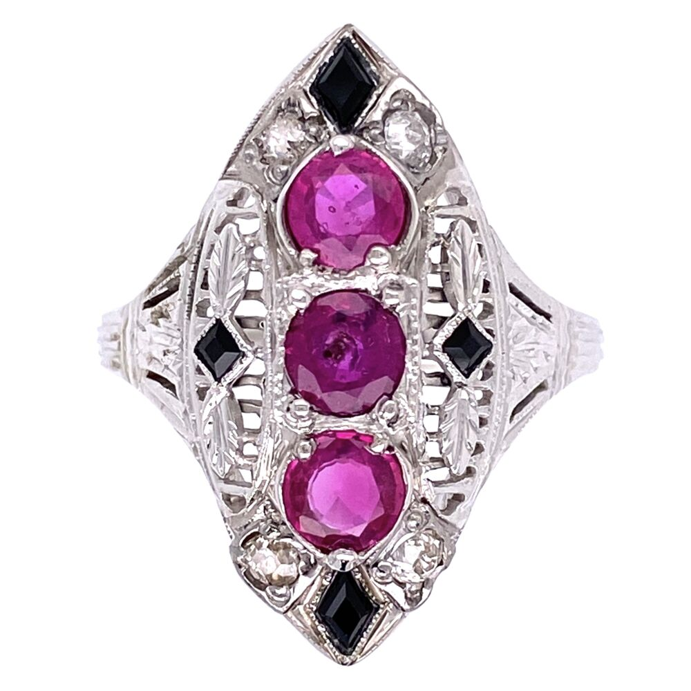 18K White Gold Art Deco Navette Ring 3 Ruby are 1.11tcw, Diamonds .10tcw & Onyx 5.3g