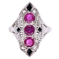 Closeup photo of 18K White Gold Art Deco Navette Ring 3 Ruby are 1.11tcw, Diamonds .10tcw & Onyx 5.3g
