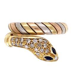 Closeup photo of 18K Tri Gold Wrapped Snake Ring .20tcw Diamonds 7.9g, s7.5