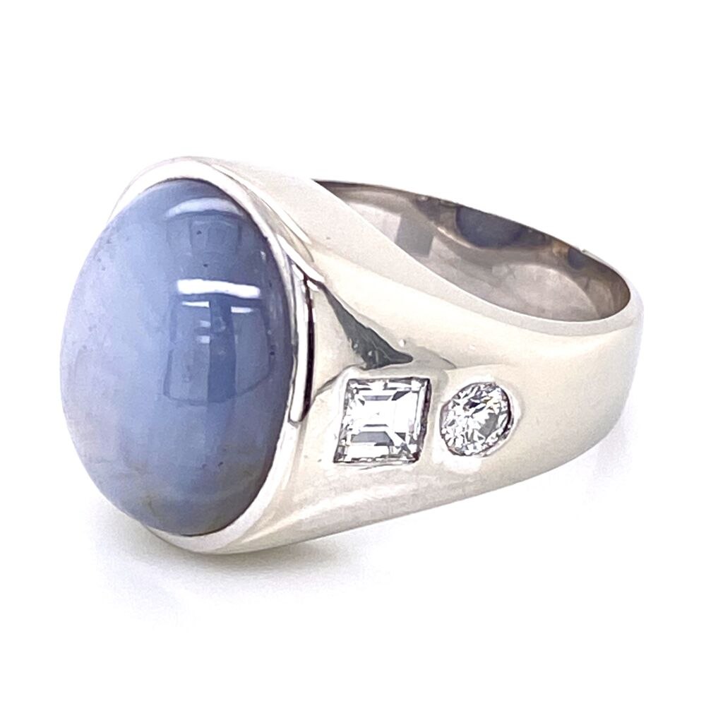 Image 2 for 14K White Gold 16.92ct Gray Blue STAR Sapphire & 1tcw Diamond Ring 12.0g, s7