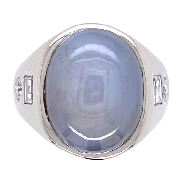Closeup photo of 14K White Gold 16.92ct Gray Blue STAR Sapphire & 1tcw Diamond Ring 12.0g, s7