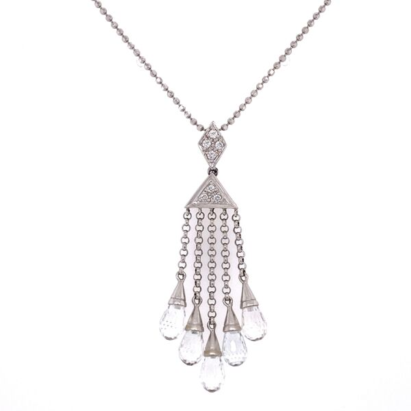 "Closeup photo of 18K White Gold .07tcw Diamond & Topaz Briolette Drop Necklace 5.9g, 18"" Chain"