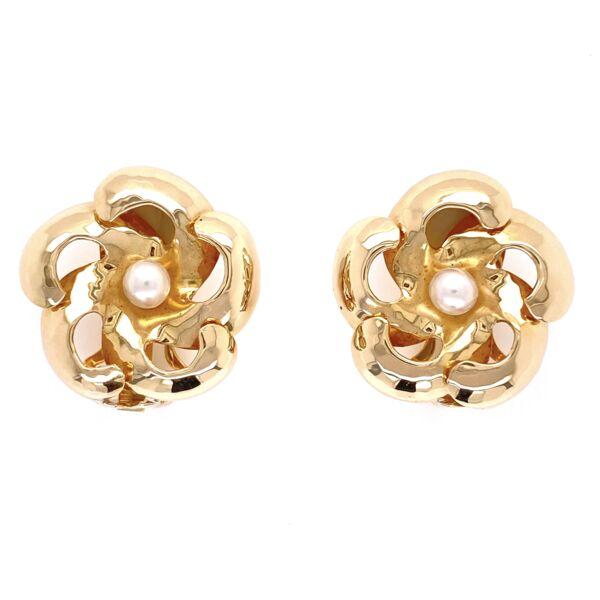 "Closeup photo of 14K Yellow Gold Scalloped Pearl Clip Earrings 8.5g, .8"" Diameter"