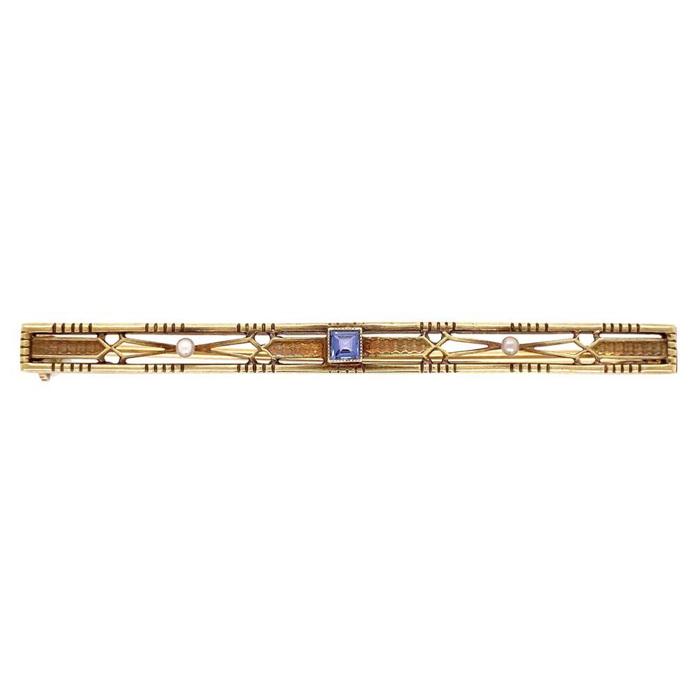 "14K Yellow Gold Vintage Bar Pin 6.1g Syn. Sapphire 2.25"" Long"