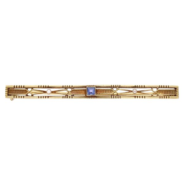 "Closeup photo of 14K Yellow Gold Vintage Bar Pin 6.1g Syn. Sapphire 2.25"" Long"