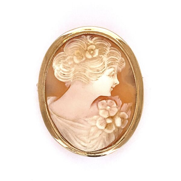 Closeup photo of 14K Yellow Gold Oval Shell Cameo Brooch 3.9g 1.2x.85""