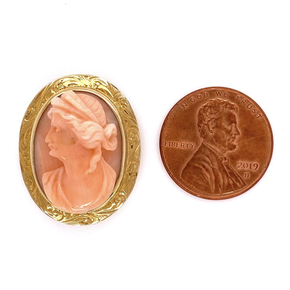 "Image 3 for 14K Yellow Gold Carved Coral Cameo Brooch 4.2g, 1"" Tall"