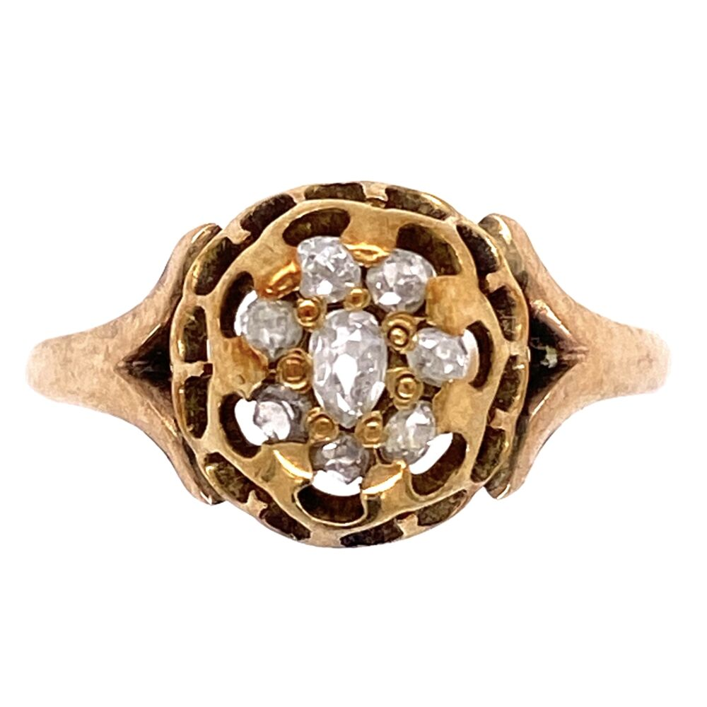 14K Yellow Gold Victorian Senaille Cut Diamond Cluster Ring 1.8g, s7