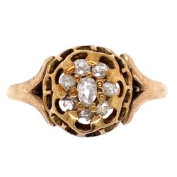 Closeup photo of 14K Yellow Gold Victorian Senaille Cut Diamond Cluster Ring 1.8g, s7