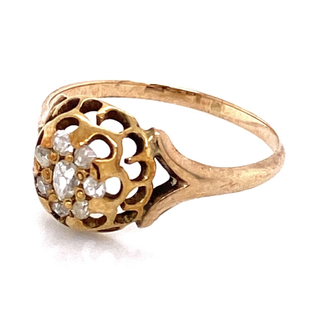 Image 5 for 14K Yellow Gold Victorian Senaille Cut Diamond Cluster Ring 1.8g, s7