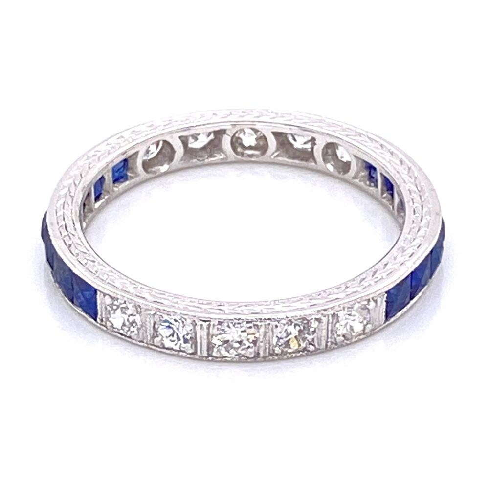 Platinum Art Deco Syn Sapp & .35tcw Diamond Engraved Band Ring 3.0g, s6
