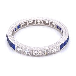 Closeup photo of Platinum Art Deco Syn Sapp & .35tcw Diamond Engraved Band Ring 3.0g, s6
