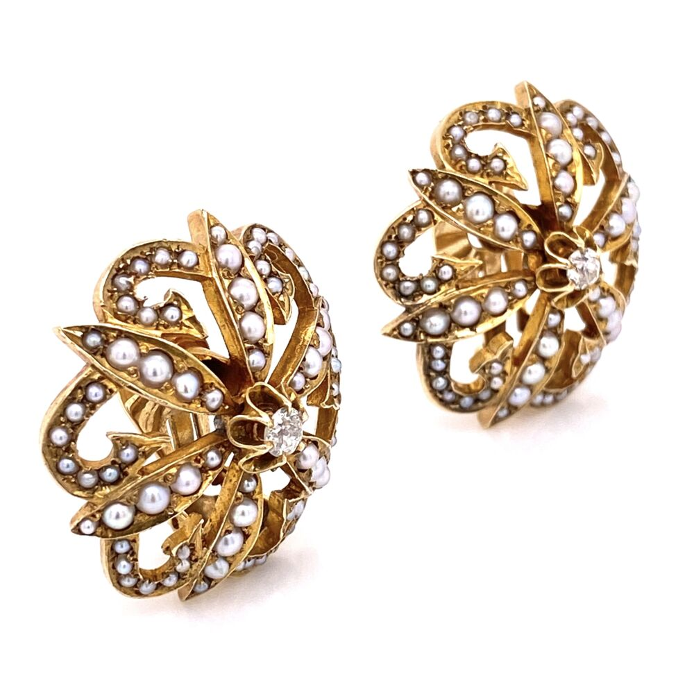 "Image 4 for 14K Yellow Gold Victorian Seed Pearl & .20tcw Diamond Clip Earrings 17.1g, 1.1"" Diameter"
