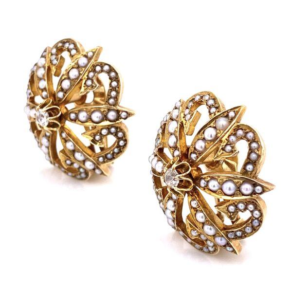 "Closeup photo of 14K Yellow Gold Victorian Seed Pearl & .20tcw Diamond Clip Earrings 17.1g, 1.1"" Diameter"