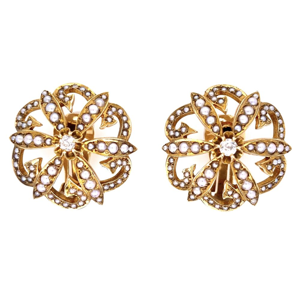 "14K Yellow Gold Victorian Seed Pearl & .20tcw Diamond Clip Earrings 17.1g, 1.1"" Diameter"